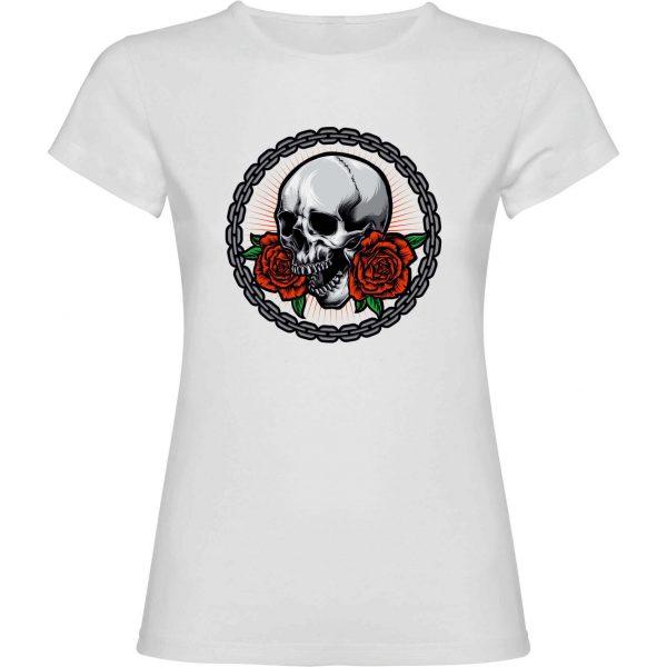 Camiseta blanca Calavera cadena chica