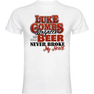 Camiseta divertida blanca Luck Combs Beer never broke my heart