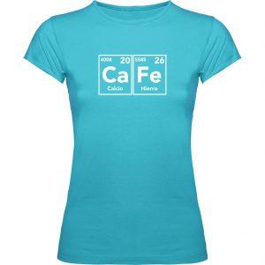 Camiseta mujer con la fórmula del café turquesa