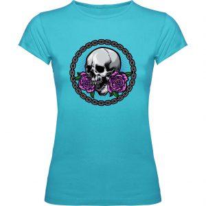 Camiseta turquesa Calavera cadena chica