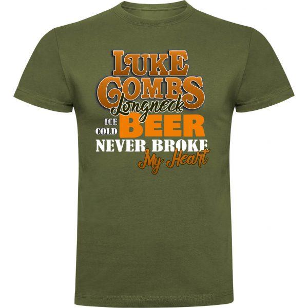 Camiseta divertida verde oliva Luck Combs Beer never broke my heart