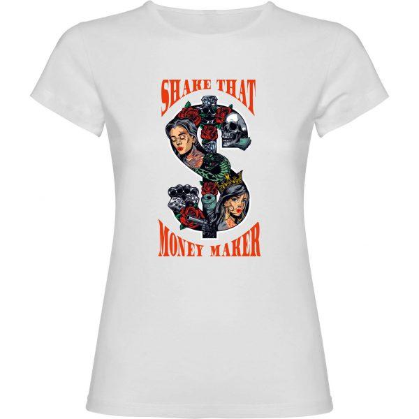 Camiseta de mujer divertida shake that money maker color blanca