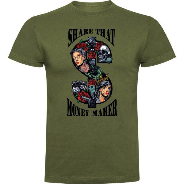 Camiseta divertida shake that money maker color verde militar