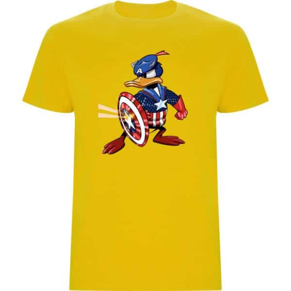 Camiseta de niño Pato Donald Capitán América amarillo