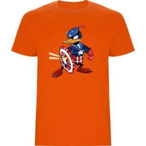Camiseta de niño Pato Donald Capitán América naranja