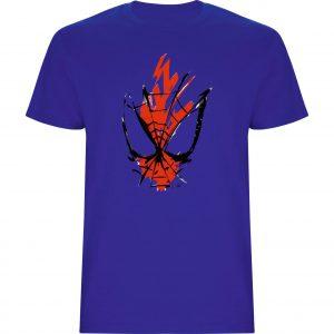 Camiseta Spiderman trazos azul royal