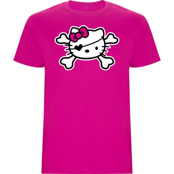 Camiseta niña hello kitty pirata fucsia