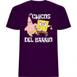 """Camiseta niño Bob Esponja """"Los chicos del Barrio"""" púrpura"""