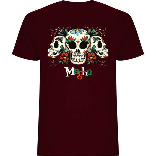 Camiseta hombre granate Calaveras Maghu manga corta