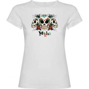 Camiseta mujer Tres calaveras del Sr. Maghú blanca
